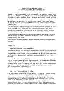 Compte rendu conseil municipal du 4 octobre 2021